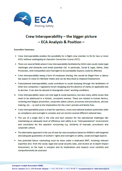 Crew Interoperability – the bigger picture – ECA Analysis & Position