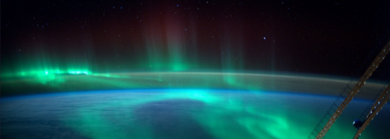 Aurora, seen from the ISS. Copyright: ESA,  CC BY-SA 3.0 IGA